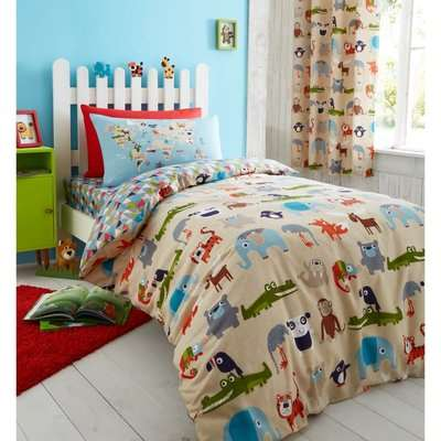 Catherine Lansfield Animal Kingdom Cotton Rich Kids Single Duvet Set - Multicoloured
