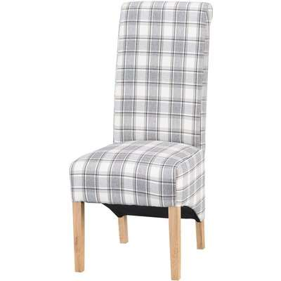 Check Scroll Back Dining Chair - Set of 2 - Grey