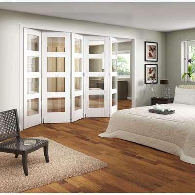 Clear Glazed Primed Internal Room Divider Doorset - 1929mm Wide