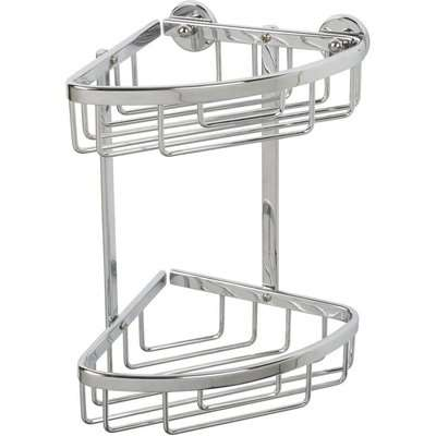 Croydex Premier 2 Tier Corner Basket/Shower Caddy - Chrome