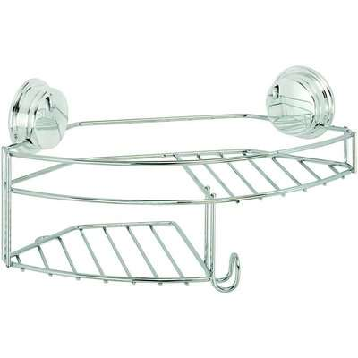 Croydex Stick N Lock Combi Basket/Shower Caddy - Chrome