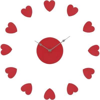 DIY Wall Clock - Red Hearts