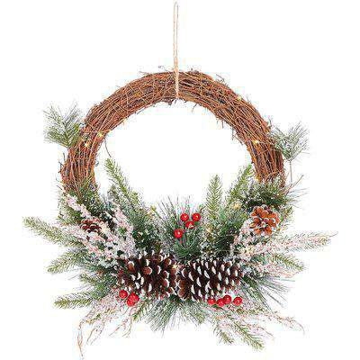 Floral Rattan Round Christmas Wreath with Lights - 50cm