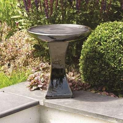 Glazed Black Bird Bath