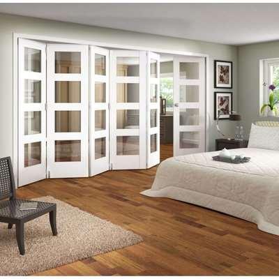 Glazed White Folding Room Divider - 3771mm Wide