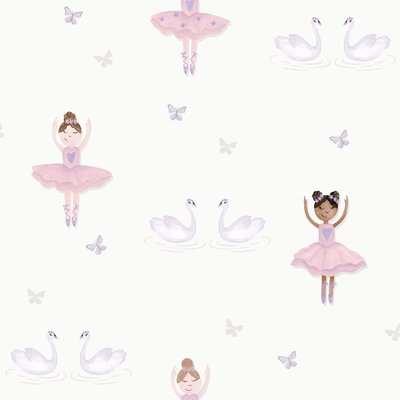 Holden Decor Ballerina Kids Smooth Metallic Glitter Cream and Pink Wallpaper