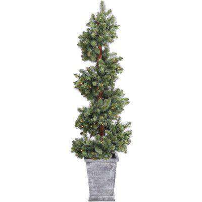 House Beautiful 5ft Spiral Pre-lit Potted Christmas Tree