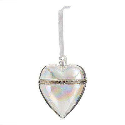 Iridescent Glass Heart Trinket Box Hanging Christmas Tree Decoration