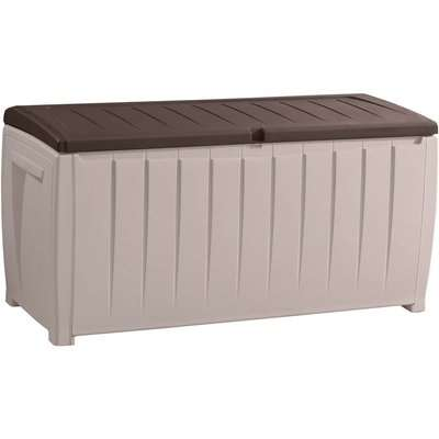 Keter Novel Plastic Outdoor Garden Storage Box 340L - Beige/ Brown