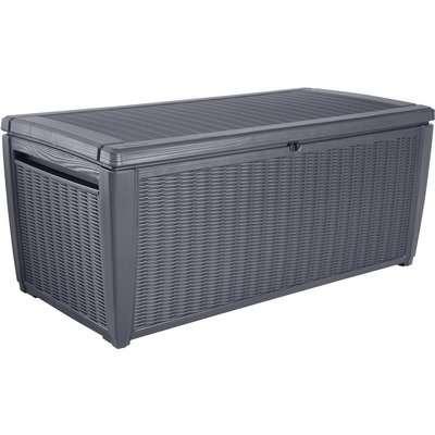 Keter Sumatra Rattan Effect Outdoor Garden Storage Box 511L - Grey