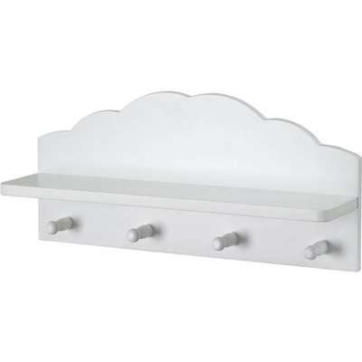 Kids Cloud Floating Shelf with Hooks - White