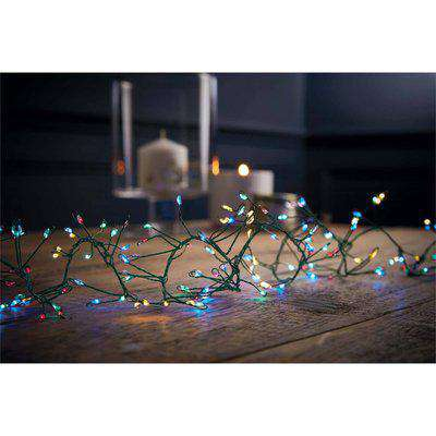 240 Large LED Green Copper Wire Garland Christmas Lights - Multicoloured