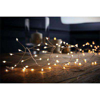 240 Large LED Silver Copper Wire Garland Christmas Lights - Warm White