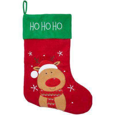 Large Reindeer Felt Christmas Stocking - Red