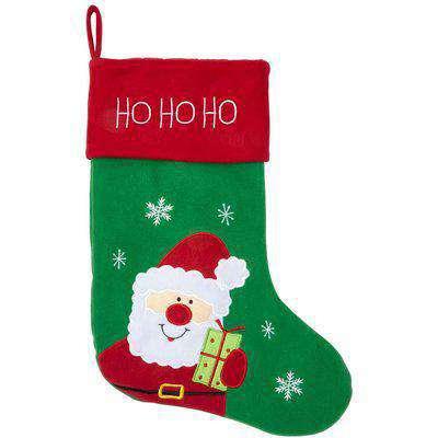 Large Santa Felt Christmas Stocking - Green