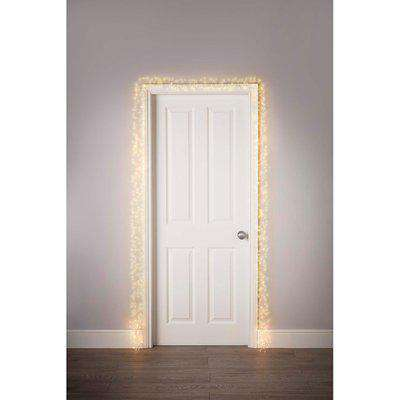 800 LED Silver Copper Wire Cluster Door Garland Christmas Lights