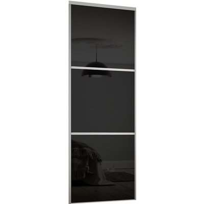 Linear Sliding Wardrobe Door 3 Panel Black Glass with Silver Frame (W)762mm