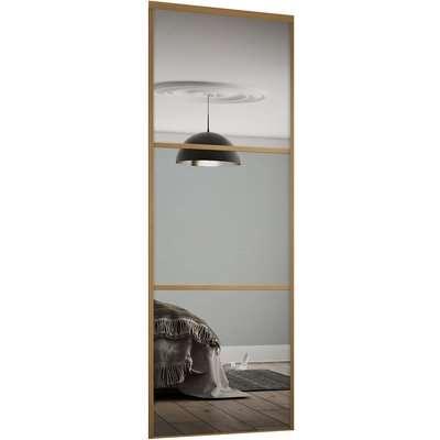 Linear Sliding Wardrobe Door 3 Panel Mirror with Oak Frame (W)610mm