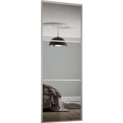 Linear Sliding Wardrobe Door Mirror with Silver Frame (W)610mm