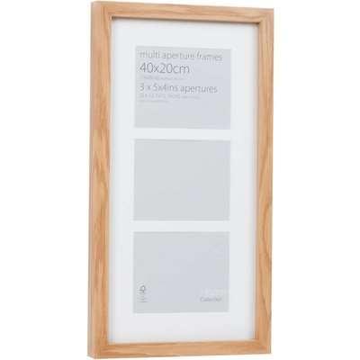 Multi Aperture Photo Frame Block Oak 40 x 20cm