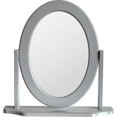 Oval Dressing Table Mirror - Grey