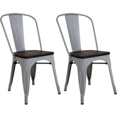 Pair of Metal & Wood Dining Chairs - Light Grey