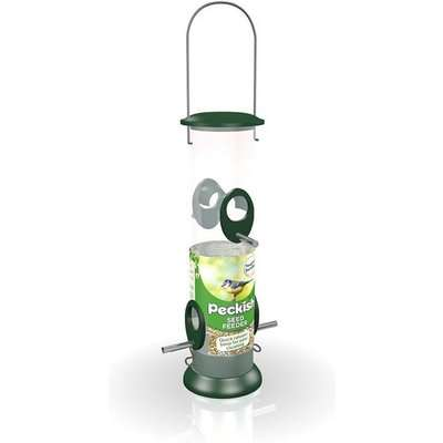 Peckish All Weather Large Seed Wild Bird Feeder - Green