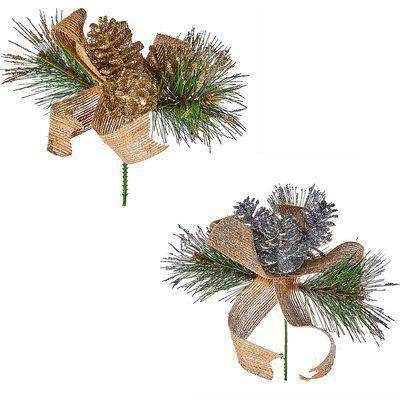 Pinecone and Ribbon Wreath, Garland and Christmas Tree Decoration Pick - Assortment
