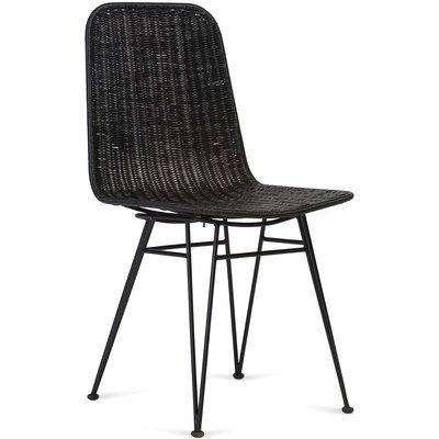 Porto Wicker Dining Chair in Black