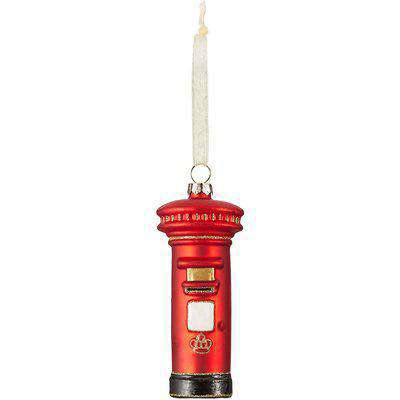 Red Post Box Glass Hanging Christmas Tree Decoration
