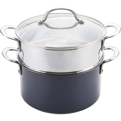 Prestiage Optisteel Induction Stainless Steel 24cm Steamer and Stockpot Set - Blue