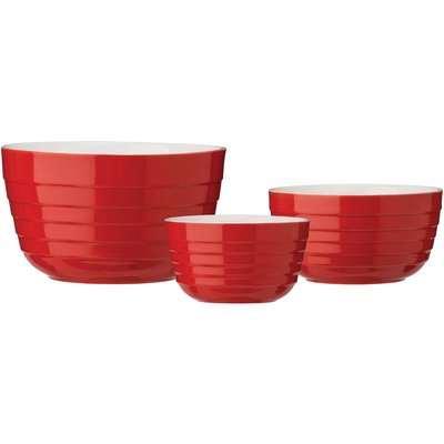 Red Stoneware Mixing Bowl Set
