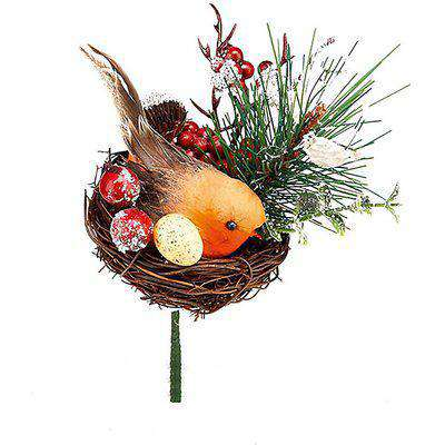 Robin in Nest Wreath, Garland or Christmas Tree Decoration Pick