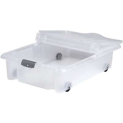 Rolling Underbed Plastic 35L Storage Box with Lid