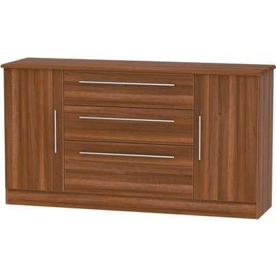 Siena Wide 2 Door 3 Drawer Sideboard - Noche Walnut