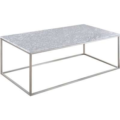Signet Coffee Table - White Marble & Nickel