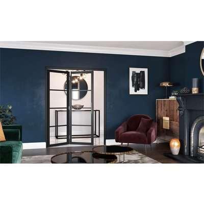 Slim-line Black 4 Light Clear Glazed Room Divider 2+0