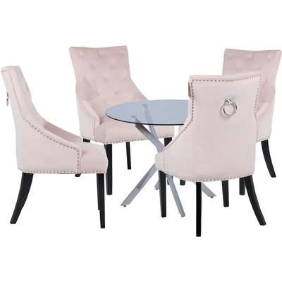 Sloane 4 Seater Dining Set - Annabelle Chairs - Pink