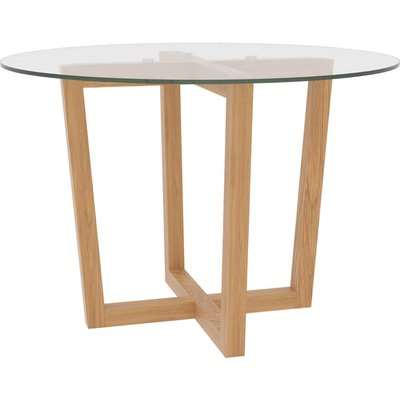 Valencia Dining Table - Oak with Glass Top