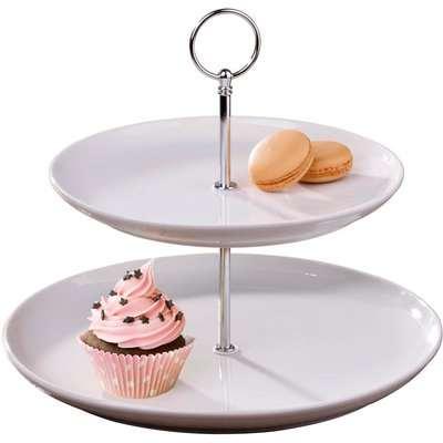 White 2 Tier Round Cake Stand