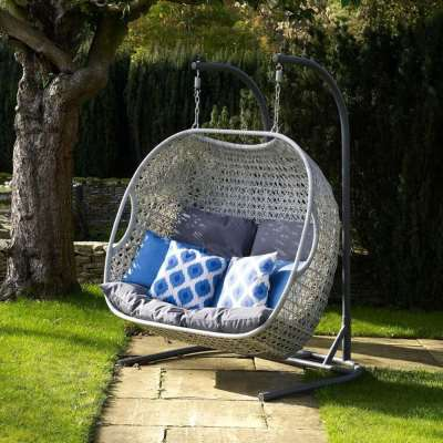 2021 Bramblecrest Monterey Double Hanging Cocoon Chair With Cushions - Dove Grey