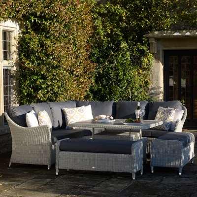 2021 Bramblecrest Monterey Outdoor Sofa Set With Square Ceramic Dining Table - Dove Grey