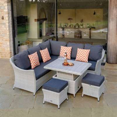 2021 Bramblecrest Monterey Outdoor Sofa Set With Mini Ceramic Adjustable Garden Dining Table - Dove Grey
