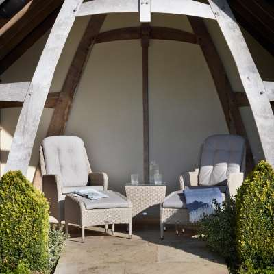 2021 Bramblecrest Tetbury Garden Recliner Chair Set With Footstools & Coffee Table – Nutmeg