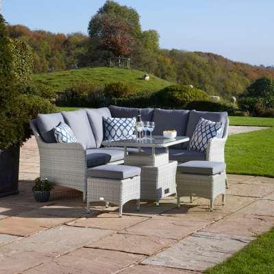 2021 Bramblecrest Tetbury Garden Sofa Set With Mini Adjustable Table & 2 Stools - Cloud