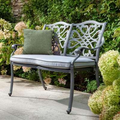 2021 Hartman Capri 2 Seater Garden Bench With Cushion - Antique Grey/Platinum