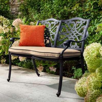 2021 Hartman Capri 2 Seater Garden Bench With Cushion - Bronze/Amber