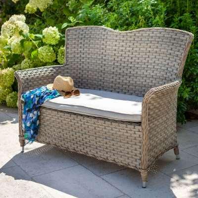 2021 Hartman Heritage 2-Seat Rattan Garden Bench - Beech/Dove