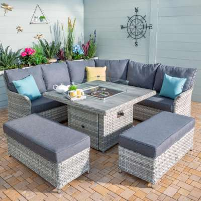 2021 Hartman Heritage Grand Square Tuscan Casual Dining Set with Fire Pit Table - Ash/Slate