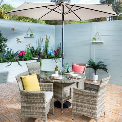 2021 Hartman Westbury 4-Seat Garden Dining Set With Round Table & 2.5m Parasol - Beech/Dove